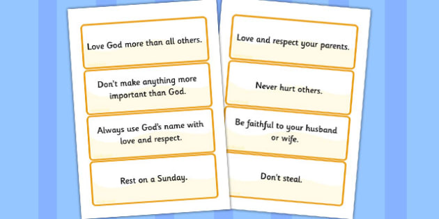 The 10 Commandments Word Cards - 10 commandments, word cards