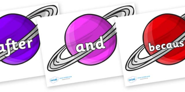 Connectives on Planets - Connectives, VCOP, connective resources, connectives display words, connective displays