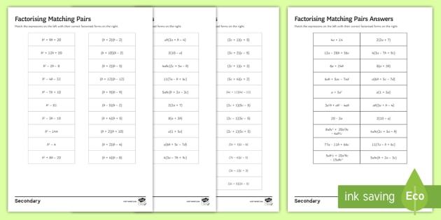 Factorising Matching Pairs Differentiated Worksheet Activity