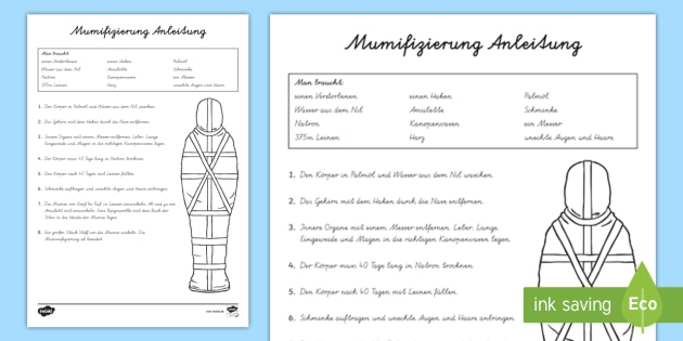NEW * Ägyptische Mumifizierung Anleitung Arbeitsblatt