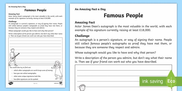 Famous People Activity Sheet - Amazing Fact Of The Day, activity sheets, powerpoint, starter, morning activity, December , famous p