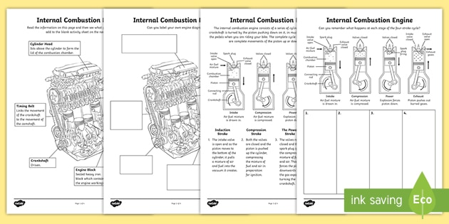 internal combustion engine: how it works worksheet / worksheet  twinkl