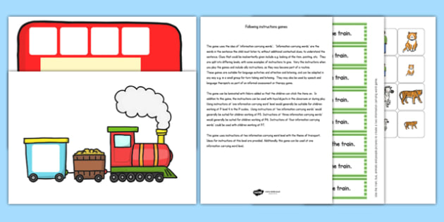 Train and Bus Following Instructions Word Game 2ICW - instruct