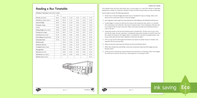 Reading A Bus Timetable Worksheet / Activity Sheet   Timetable, Time,  Solving Problems,