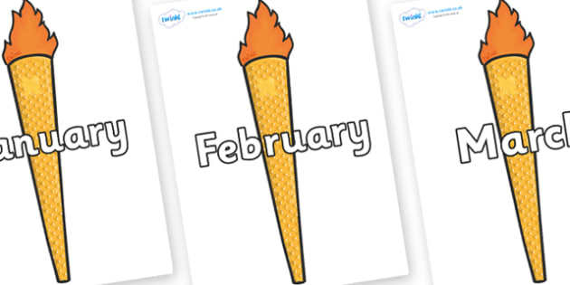 Months of the Year on Torches - Months of the Year, Months poster, Months display, display, poster, frieze, Months, month, January, February, March, April, May, June, July, August, September