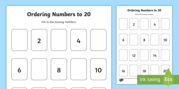 Missing Odd Numbers to 20 Ordering Activity