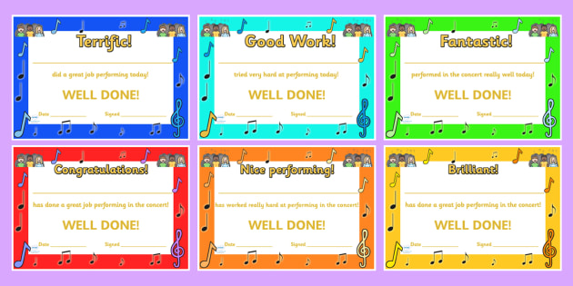 Singing In A Concert Certificates - music, sing, awards, rewards