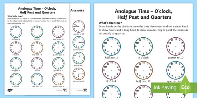analogue time o clock half past and quarters worksheet worksheet ni. Black Bedroom Furniture Sets. Home Design Ideas