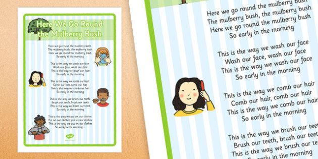 Here We Go Round the Mulberry Bush Nursery Rhyme Large Display Poster - Physical development, eyfs, movement, songs