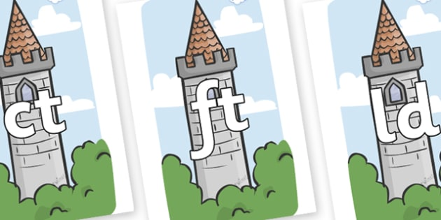 Final Letter Blends on Towers - Final Letters, final letter, letter blend, letter blends, consonant, consonants, digraph, trigraph, literacy, alphabet, letters, foundation stage literacy