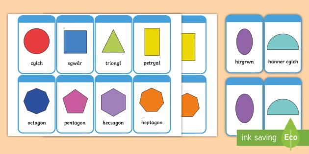 Cardiau Siapiau 2D - siapiau, siap, cymreag, welsh, 2d shape, cards, 2d, shape, maths, numeracy,2Dshape, numracy, shaoe, matsh