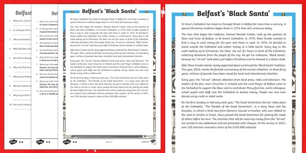 Belfast's 'Black Santa' Differentiated Reading Comprehension Activity