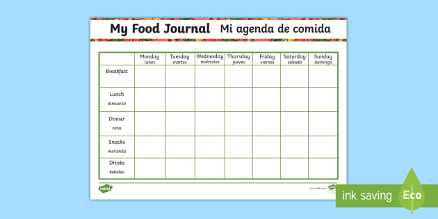 my healthy eating food journal activity english spanish