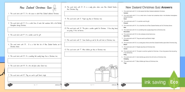 New Zealand Themed Christmas Quiz