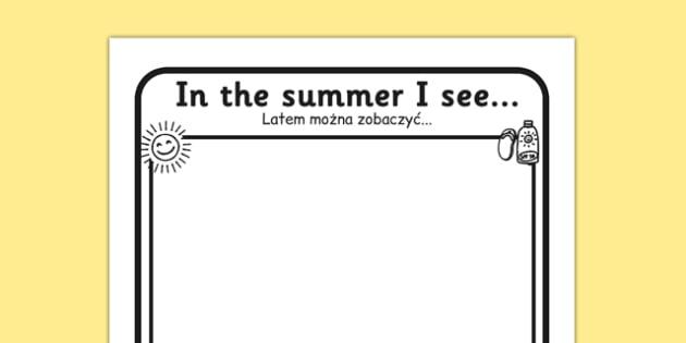In the Summer I See Writing Frame Polish Translation - sun, hot, summer, holidays, season, seasons, see, describe, observe, Polish, Poland, writing