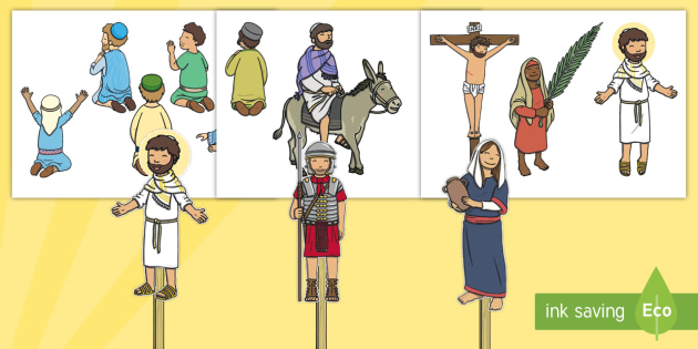 image about Bible Character Puppets Printable titled Easter Tale Adhere Puppets - easter, puppets, job engage in