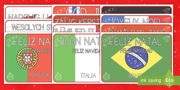 Navidad en el mundo Póster DIN A4 - otras culturas, otros paises, otras lenguas, otros idiomas, navidad