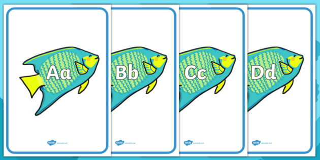 A-Z Alphabet on Angel Fish - Fish, Under the sea, Alphabet frieze, Display letters, Letter posters, A-Z letters, Alphabet flashcards, sea, seaside, display, posters, water, tide, fish, sea creatures, shark, whale, marine, dolphin, starfish, waves, sa