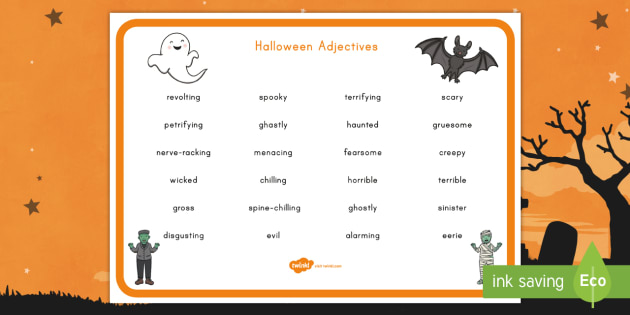 Halloween Adjectives Word Mat - Halloween, word mat, adjectives, English, literacy