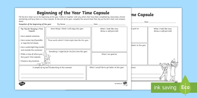 Beginning Of The Year Time Capsule Worksheet Activity Sheet