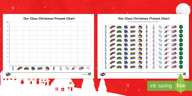 Class Christmas Present Pictogram Chart Activity - Christmas, maths, chart, graph, data, collection, shape space measure, number, counting, total, ks1, eyfs
