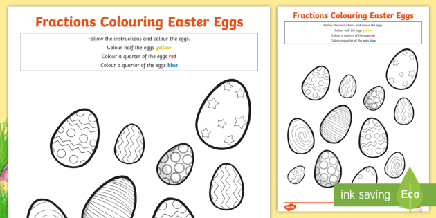 Fractions Colouring Sheet Easter Eggs - maths, colour, worksheets