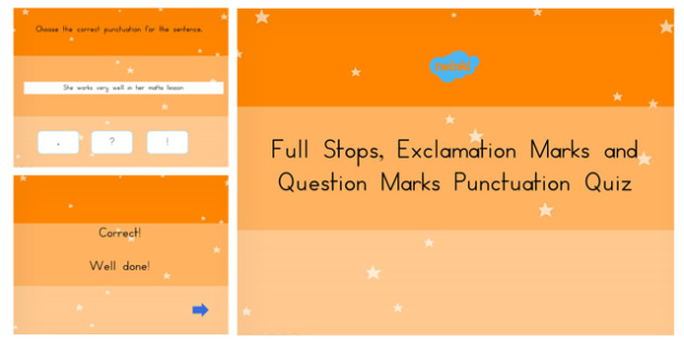 Australia - Using a Full Stop Question Mark or Exclamation Mark Language Conventions PowerPoint Quiz