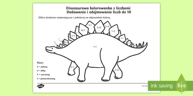 Karta Dinozaurowa Kolorowanka Dodawanie I Odejmowanie Liczb Do 10