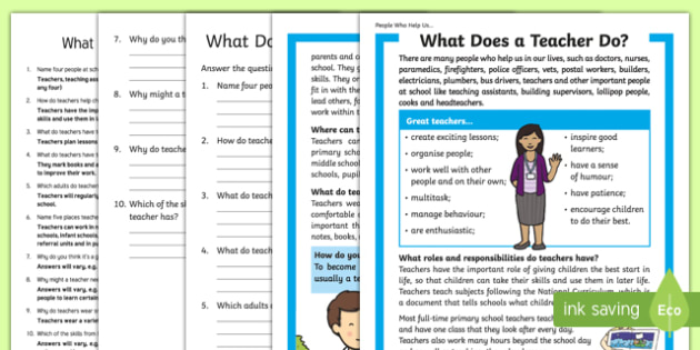 What Does a Teacher Do? Differentiated Reading Comprehension Activity