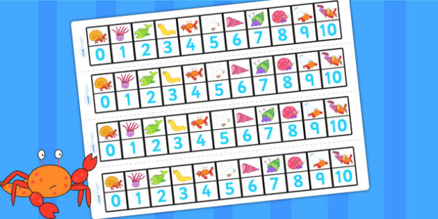 Number Track 0-10 to Support Teaching on Sharing a Shell - count, counting, counting aid