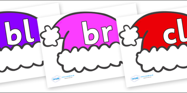 Initial Letter Blends on Santa Hats - Initial Letters, initial letter, letter blend, letter blends, consonant, consonants, digraph, trigraph, literacy, alphabet, letters, foundation stage literacy