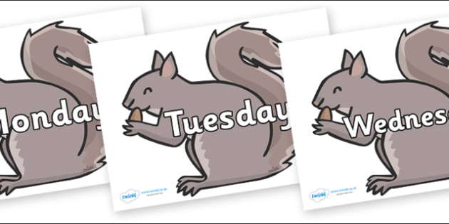 Days of the Week on Grey Squirrels - Days of the Week, Weeks poster, week, display, poster, frieze, Days, Day, Monday, Tuesday, Wednesday, Thursday, Friday, Saturday, Sunday