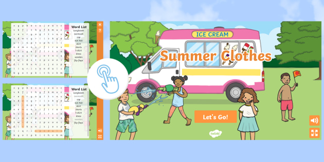 FREE! - KS1 Summer Clothes Interactive Word Search