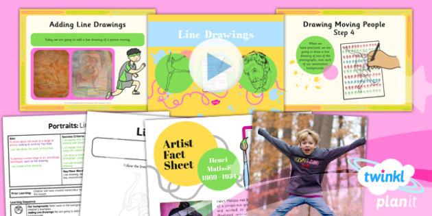 Line Art Ks1 : Art portraits line drawings ks lesson pack