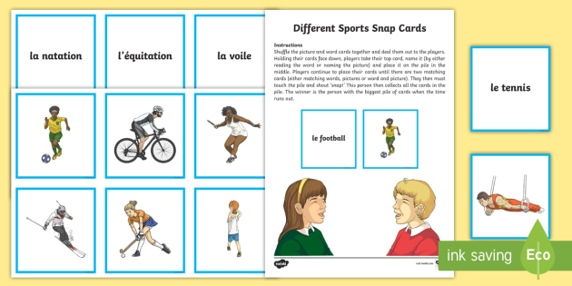 different sports snap card game french french games french. Black Bedroom Furniture Sets. Home Design Ideas