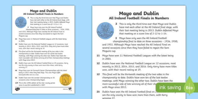 GAA History of Dublin V Mayo Fact File-Irish
