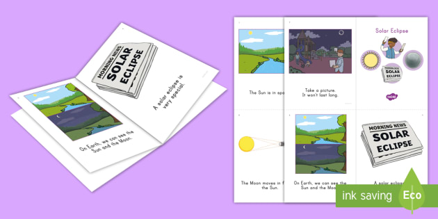 Solar Eclipse Emergent Reader - sun, moon, earth, space, science, light, dark, event