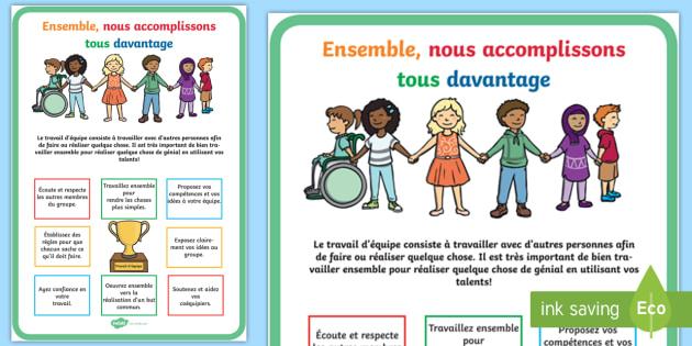 Grand poster d'information : Le travail d'équipe - décoration, ensemble, compétences, collaboration, réussite,French