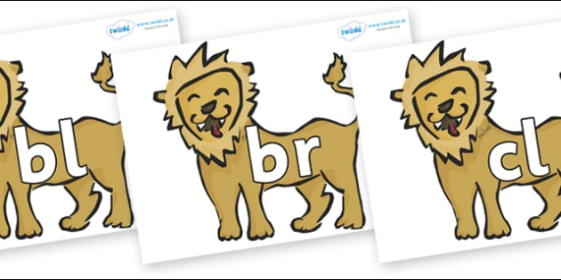 Initial Letter Blends on Lions - Initial Letters, initial letter, letter blend, letter blends, consonant, consonants, digraph, trigraph, literacy, alphabet, letters, foundation stage literacy
