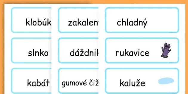 Winter Word Cards - seasons, weather, key words, visual aids  - Slovak