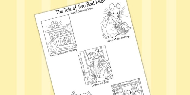 The Tale of Two Bad Mice Words Colouring Sheet - two bad mice, colouring