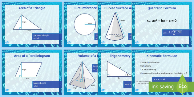 GCSE Maths Formulae Posters - Maths, KS3 KS4, formula, GCSE, shape, measure, area, volume, probability, trigonometry, compound interest