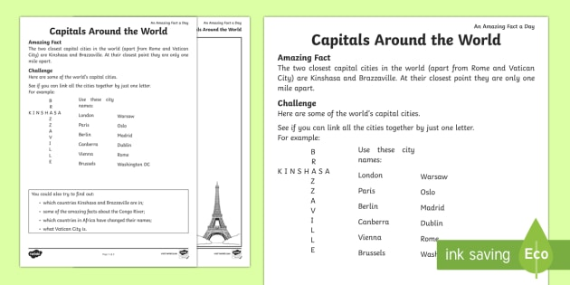Capitals Worksheet on