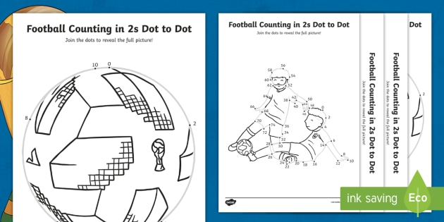 KS1 Football Themed Counting In 2s Dot To Dot Worksheets
