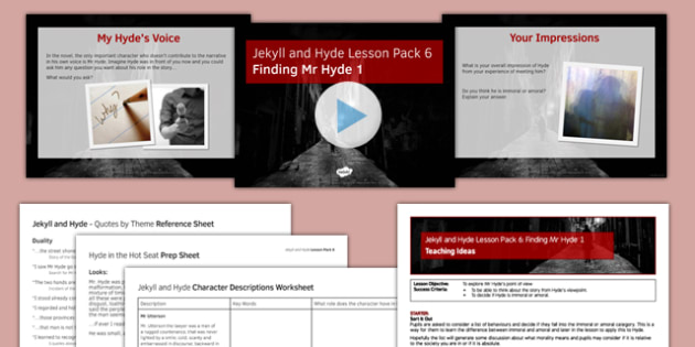 Jekyll and Hyde Lesson Pack 6: Finding Mr Hyde 1 (post reading) - finding, mr hyde, lesson 1, lesson, jekyll