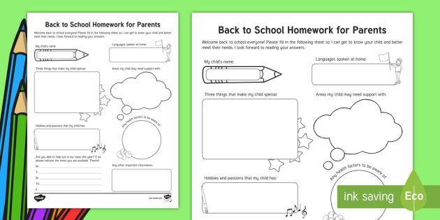 Back to School Homework for Parents Activity