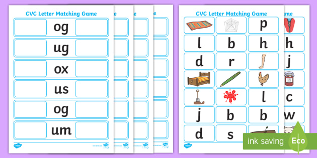 CVC Initial Letter Matching Game letters words matching