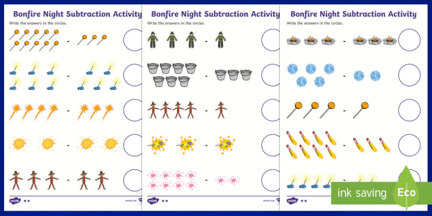 Bonfire Night Fireworks Subtraction Worksheet - subtract, bonfire