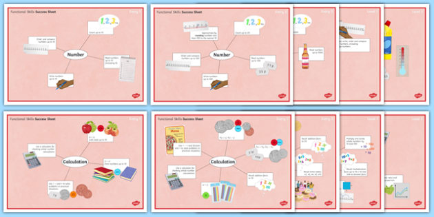 Functional Skills Number and Calculation Success Sheets - KS4, KS5, adult education, maths, numeracy, functional skills, SEN, assessment, objectives