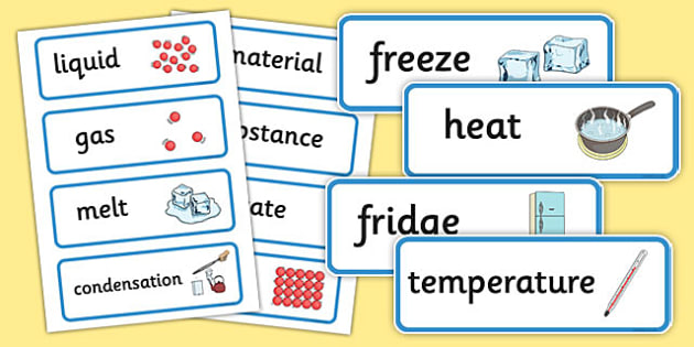 Changes of State Word Cards - States, word card, card, flashcards, liquid, gas, solid, ice, forces, movement, gravity, push, pull, Magnet, friction, science, knowledge and understanding of the world